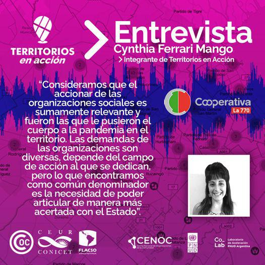 """Cynthia Ferrari Mango, integrante de Territorios en Acción, dijo que """"el objetivo principal es visibilizar las acciones de las organizaciones sociales""""."""
