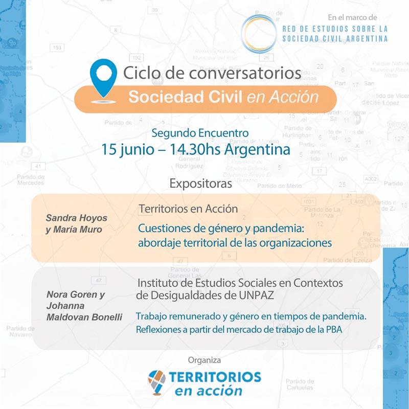 Conversatorio #Sociedad Civil en Acción –  Cuestiones de género y pandemia: abordaje territorial de las organizaciones – Sandra Hoyos y María Muro